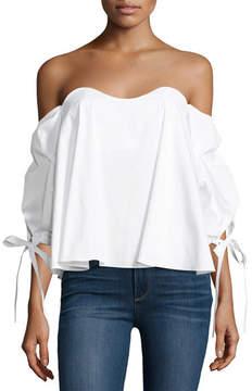 Caroline Constas Gabriella Off-The-Shoulder Bustier Top, White