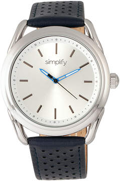 Simplify Silver & Blue The 5900 Leather-Strap Watch