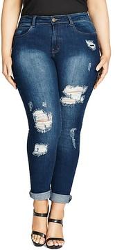 City Chic Ex Boyfriend Distressed Skinny Jeans in Dark Denim