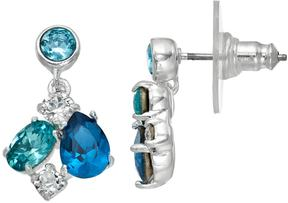 Brilliance+ Brilliance Silver Plated Blue Cluster Drop Earrings with Swarovski Crystals
