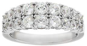 Diamonique 100-Facet Double Row Band Ring, Platinum Clad