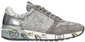 Premiata Diane In Grey Suede And Fabric Sneakers