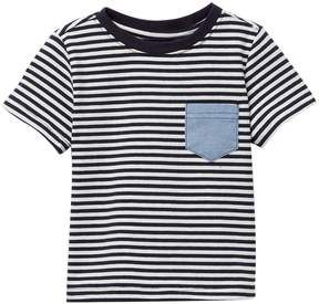 Andy & Evan Navy Striped Chambray Pocket Tee (Baby Boys)