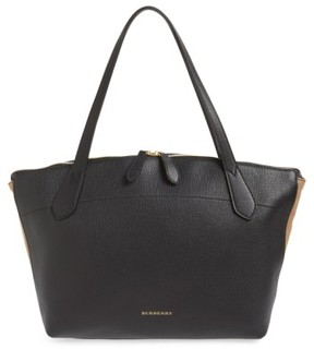 Burberry Welburn Check Leather Tote - Black - BLACK - STYLE