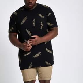 River Island Mens Big and Tall black feather print T-shirt