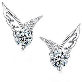 Alpha A A designer Inspired Winged shaped Earrings with centered cz