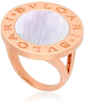 Bvlgari Mother of Pearl 18k Rose Gold Ring- Size 57