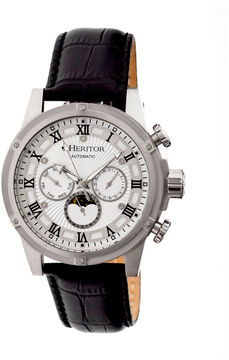 Heritor Automatic Kinser Mens Leather Day&Date-Silver Watches