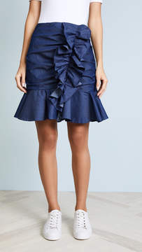 Caroline Constas Ruffle Denim Mini Skirt