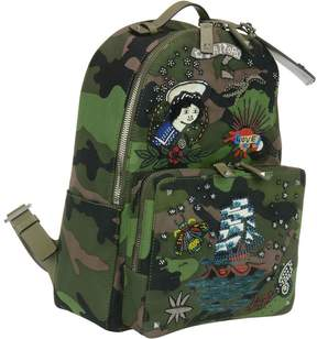 Valentino Embroidered Tattoo Camouflage Backpack