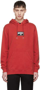 Givenchy Red Distressed Box Logo Hoodie