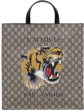 Gucci Tiger Printed Gg Supple Tote Bag
