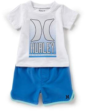 Hurley Baby Boys 12-24 Months Short-Sleeve Icon Tee & Color-Block Shorts Set