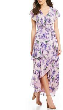 WAYF Polermo Floral Print Layered Faux Wrap Dress