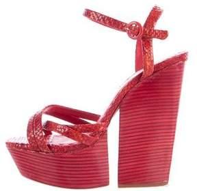 Alice + Olivia Embossed Leather Platform Sandals