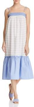 Aqua Striped Poplin Midi Dress - 100% Exclusive