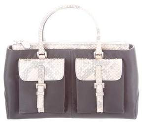 Tod's Snakeskin-Trimmed Satin Bag