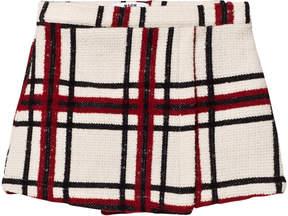 MSGM Cream Check Wool Skirt