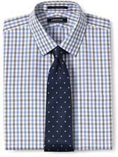 Lands' End Men's Tailored Fit Pattern Supima No Iron Pinpoint Straight Collar-Green Opal Stripe