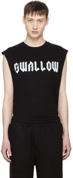 McQ Black Sleeveless Swallow T-Shirt