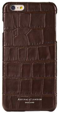 Aspinal of London Iphone 7 Leather Cover In Deep Shine Amazon Brown Croc Black Suede