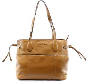 Michael Kors Brown Acorn Leather Mae EW Drawstring Tote Bag Purse - BROWNS - STYLE
