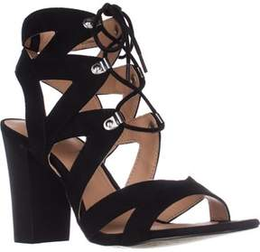 XOXO Barnie Heeled Lace Up Sandals, Black.
