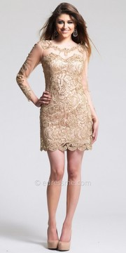 Dave and Johnny Elegant Lace Overlay Illusion Long Sleeve Homecoming Dressed