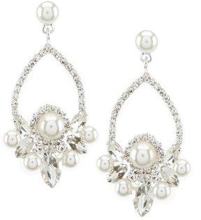 Cezanne Faux-Pearl Cluster Drop Earrings