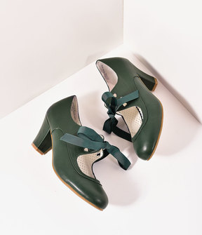 Unique Vintage Vintage Style Emerald Green Leatherette Mary Jane Bow Wiggle Heels Shoes