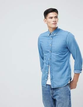 MANGO Man Slim Denim Shirt In Mid Wash Blue