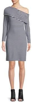 Club Monaco Skarlie One-Shoulder Long-Sleeve Striped Dress