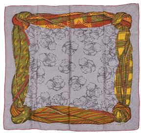 One Kings Lane Vintage Lanvin Gray Tartan Silk Scarf - Vintage Lux