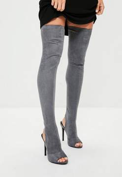 Missguided Grey Peep Toe Over The Knee Boots