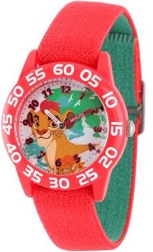 Disney Lion Guard Kion Boys' Red Plastic Time Teacher Watch, Reversible Red and Green Elastic Nylon Strap