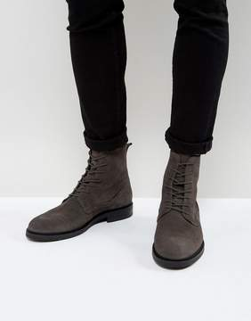 Zign Shoes Suede Lace Up Boots in Gray