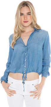 Bella Dahl Tie Button Shirt-Silver Rock Wash-XS