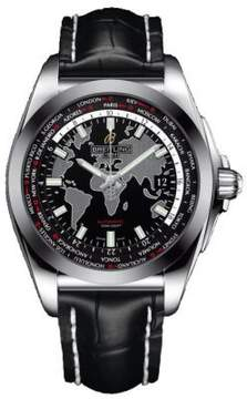 Breitling Galactic Unitime Black Leather Men's Watch WB3510U4-BD94BKCD