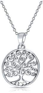Celtic Bling Jewelry Swirl Circle Tree Of Life Pendant Sterling Silver Necklace 18 Inch.