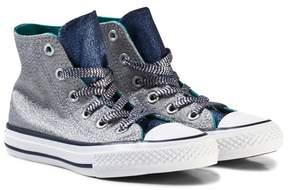 Converse Grey Shimmer and Navy Kids Chuck Taylor All Star Hi-Tops