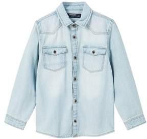 MANGO Light wash denim shirt