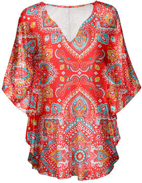 Lily Red & Blue Scarf Print V-Neck Tunic - Women & Plus