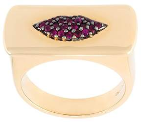Alison Lou ruby lips bar ring