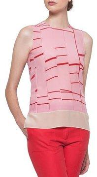 Akris Round-Neck Sleeveless Broken-Stripes Silk Blouse