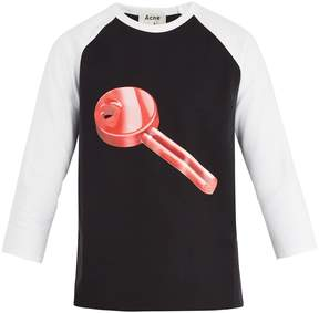 Acne Studios Noise long-sleeved key-print cotton T-shirt