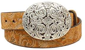 Ariat A1521808-L 1.5 in. Womens Scroll Hair-On Belt, Tan - Large