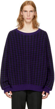 Haider Ackermann Purple Dogtooth Elbow Patch Sweater