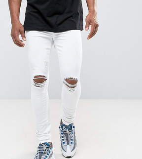 Jaded London Muscle Fit Super Skinny Jeans In White With Knee Rips