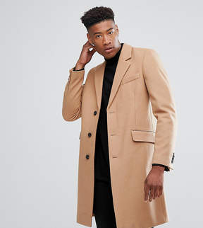 Asos TALL Wool Mix Overcoat In Camel