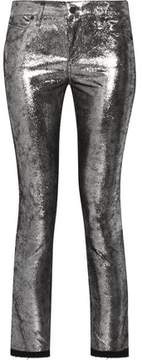RtA Prince Mid-Rise Cropped Metallic Leather-Coated Skinny Jeans